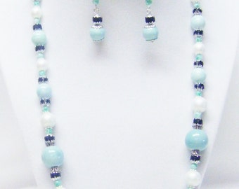 Round Sea Foam Blue Green Pearlized Ceramic Bead Necklace/ Bracelet/Earrings