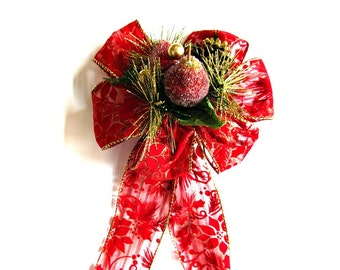 Christmas holiday bow, Gift wrap bow, Bow for large wreaths, Christmas tree bow, Christmas holiday decoration, Unique gift bow  (C517)
