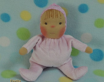 "Fretta's original Waldorf Style Weighted Baby. 9"" / 23 cm soft sculpture Cloth Doll. Baby's First Doll. Child Friendly Baby Doll."