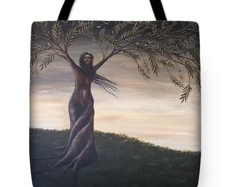 Olive Tree Fine Art Tote Bag, Surreal Landscape Tote Bag, Tree of Life Tote, Surreal Art