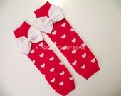 Valentine Red Leg Warmers, Toddler and Baby Leg Warmers, Heart Leg Warmers
