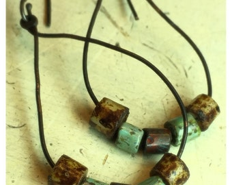 Rustic drop earrings with Picasso Czech glass pipe beads on copper frames with sterling silver handmade ear wires