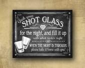Shot Glass wedding favor sign, Grab your shot glass, Wedding signage, chalkboard wedding, Wedding favor, Shot Glass Favors