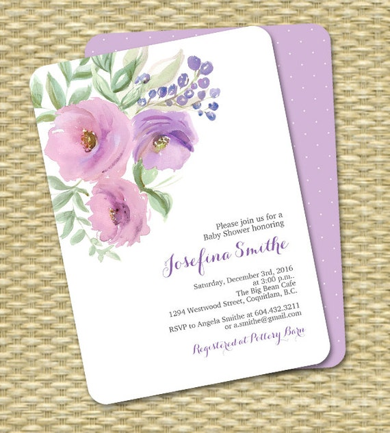 Floral Baby Girl Shower Invitation Rustic Baby Shower Invitation Boho Baby Shower ANY EVENT by ...