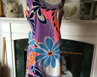 60s Mod Floral Cotton Sundress