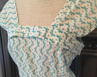 50s Turquoise Butterfly Print Sundress
