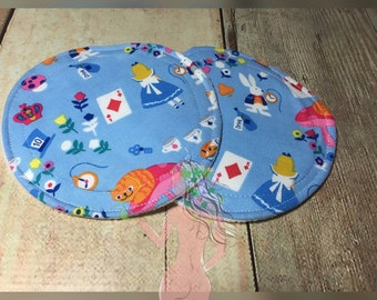 Cloth reusable large breast pads  alice in wonderland  by Dimple's Secret Garden