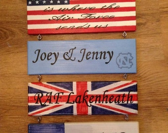 Military, Air Force, Navy, Army, Family Personalised Home is where Station, Base sign