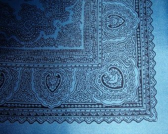 VINTAGE SILK RENIOR Scarf In Powder Blue n Black Paisley Print Made in England by Renoir 1980s