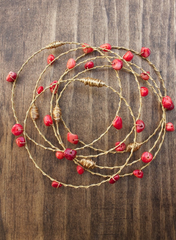 red coral recycled guitar string jewelry 3pc bangle set. Black Bedroom Furniture Sets. Home Design Ideas