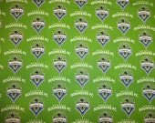 SEATTLE SOUNDERS FC  Soccer  Team Mls  Soccer Fabric 1/2 Yard   Piece  Greens 100% Cotton Brand New Design