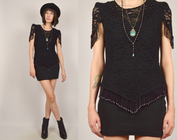 80's Black Lace Top Bead Fringe Bodycon Vintage