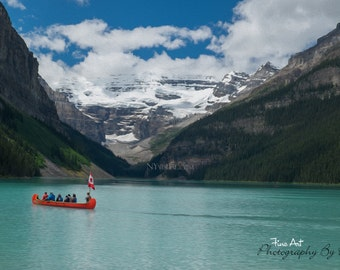 "Canoe on Lake Louise - Banff National Park, Alberta Canada - Original Fine Art Landscape ""Digital Painting"" Photography"