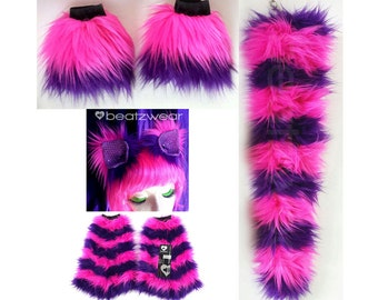 MADE TO ORDER Cheshire Cat leggings tail ears and wrist cuffs set pink and purple striped fluffies Cheshire Cat halloween costume cat ears