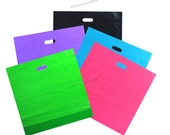 """20x20x5"""" -Plastic Merchandise Bags -5 Colors w/Die Cut Handles (Pack of 50) Retail Bags, Jumbo Size You Pick Lot Party Shopping Bags"""