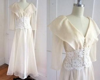 Champagne Tea Lengh Wedding Dress - Organza - Chiffon - Lace Midruff - Shawl Collar - Bridesmaid -
