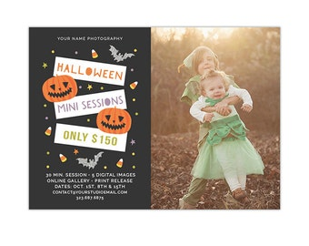 Halloween Mini Session Template, Fall Photography Marketing Board, Mini Session Pricing Advertisement Template, Photoshop Templates - AD227