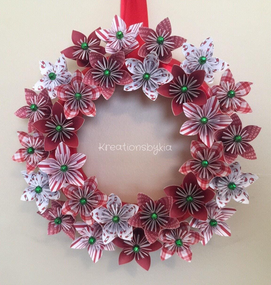 Origami Paper Flower Wreath / Christmas Wreath Paper Flower