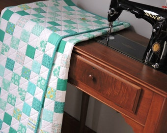 "Aqua and White Modern Baby Quilt, Checkerboard, Patchwork, 39"" x 47"", Ready to Ship"