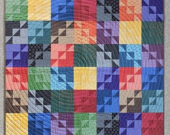 "Award Winning Modern Quilt, Color Collection fabrics, 40"" x 46"", for Home Decor, Baby or Toddler"