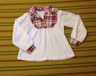 Vintage Plaid Trim top blouse