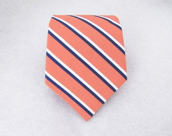 Men's Necktie - Coral & Navy Sailor Stripe