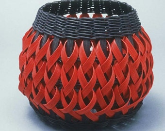 Penland Pottery Basket- black with red braids