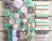 Baby Shower DIY Headband Making Kit - Grey, Mint / Aqua, and White - Elsa / Frozen Birthday Party You Choose Kit Size! DIY Flower Headbands