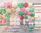 Baby Shower DIY Headband Making Station - MAKES 30+ HEADBANDS!! Baby Headband Kit - Pink, White, Mint Green, Ivory - Shabby Chic Garden
