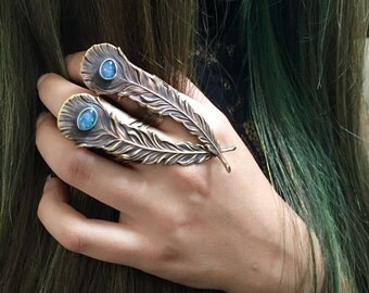 Peacock Feather Ring Australian Opal Ring Blue Fire Opal Gemstone Knuckle Statement Cocktail Brass Sterling Silver Metalsmith