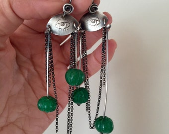 Evil Eye earrings Sterling Silver Aventurine Dangle Emerald Green Gemstone Drops Pinned Stones Metalsmith  Hand Stamped Jewelry Contemporary