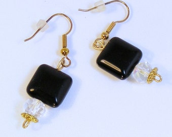 ONYX & CRYSTAL GOLD Earrings