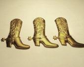 3 - Brass Western Boot  findings - m303