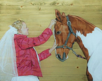 16x20 Custom Portrait with Pet: Mixed Media on Pine, Horse, Dog, Cat, Bird, Exotic