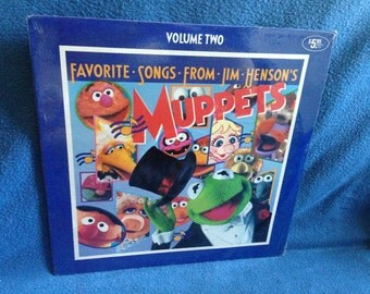 "SEALED, Vintage, ""Favorite Songs From Jim Henson's Muppets Vol. 2"", Vinyl LP, Record Album, Rubber Duckie , Muppet Babies Theme, Bein' Green"