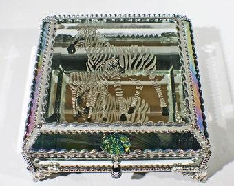 Zebra Carved Glass Jewelry Box -  Faberge Style Treasure Box