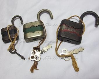 3 Vintage Padlocks and Skeleton Keys // Made in U.S.A // Lock and Key // G & J Product // Genuine Old Keys and Padlocks