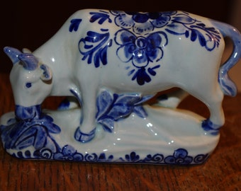 Delft Porcelain Grazing Cow - Holland