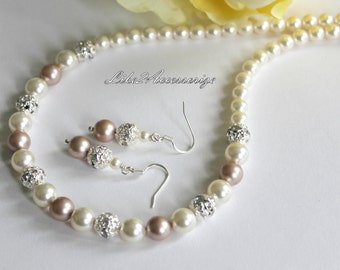 Bridal Jewelry, Bridal Necklace Earring Set, Bridesmaid Jewelry, Wedding Accessories White Ivory Champagne Swarovski Pearl Bridal Party Gift