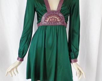 90s emerald green stretch silk and orchid purple leather mini dress/ BOHO PRINCESS/ crochet center feature: size US Small (4-6)