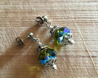 Post Earrings Handmade,Hand wrapped, Sawvoski Crystals