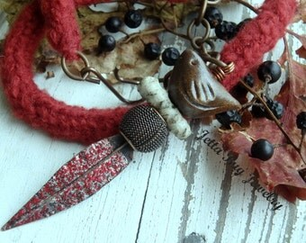 Rusty Red fiber necklace- dark plum. mustard. polymer clay mustard acorn charm. boho totem rustic nature bird necklace fall. Jettabugjewelry