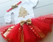1st Christmas Outfit - First Christmas Tutu - Red  and Gold Tutu - Baby Girl Christmas Gold Glitter Onsie - Gold Glitter Baby Girl Tutu