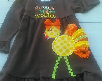 Gobble Till You Wobble Thanksgiving 2 Piece Thanksgiving Dress and matching Headband