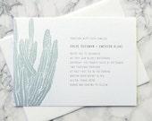 LETTERPRESS SAMPLE | Letterpress Wedding Invitation | Cactus Wedding Invitation | Southwestern Wedding Invitation | Casual Invitation