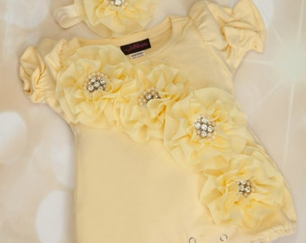 Yellow Bubble Romper Baby Girl Romper Set Infant One Piece Set with Chiffon and Matching Headband