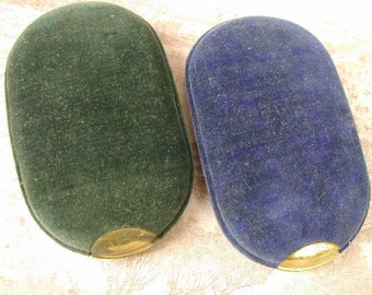 Antique-Vintage Mystery Containers, Asian, Probably Chinese, Velvet Covered Metal Containers