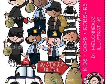 Cops and Robbers clip art - Kids - Combo Pack