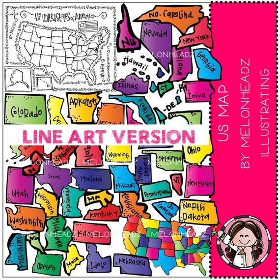 US map clip art - LINE ART