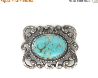 ON SALE Danecraft Sterling Silver Repousse Turquoise Art Glass Brooch